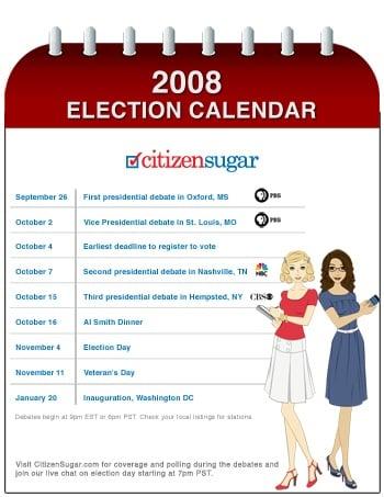 Calendar of 2008 Presidential Debates